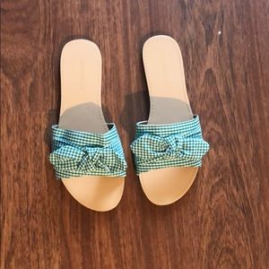 Green paid sandals